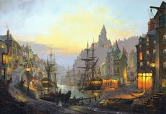Old harbour lights. A painting by St Ives Artist Donald MacLeod Maritime Art Fantasy City, Fantasy Places, Fantasy World, Fantasy Art Landscapes, Fantasy Landscape, Medieval Town, Medieval Fantasy, Battle Of The Nile, Pirate Island