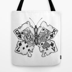 Playcards butterfly Tote Bag by Sara Elan Donati - $22.00 #butterfly #print #bag #shop #society6