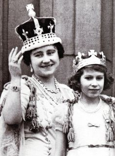 "Queen Elizabeth & Princess Lilibet on Cornation Day, modelling their ""Mother and Daughter"" crowns"
