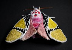 Fabric sculpture Large Clown Face Moth textile art by YumiOkita Sculpture Textile, Art Textile, Textile Artists, Soft Sculpture, Textiles, Clown Faces, Art Corner, Insect Art, Embroidery Art