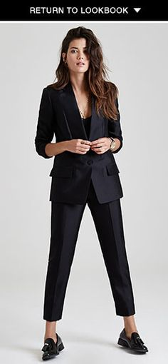 Alexander Wang Seamed Lapel Cutaway Blazer and Slim Pant.  Love with these Jeffrey Campbell Loafers. http://www.shopbop.com/lawford-tassle-loafer-jeffrey-campbell/vp/v=1/1501912780.htm  shopbop.com