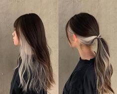 Hair Color Streaks, Hair Dye Colors, Hair Highlights, 2 Tone Hair Color, Hair Inspo, Hair Inspiration, Hair Dyed Underneath, Dye My Hair, Aesthetic Hair