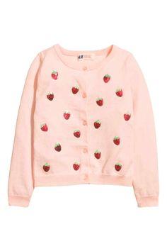 Gilet en maille fine - Rose clair/fraises - ENFANT | H&M FR 1  14.99€