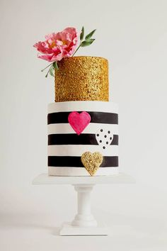 #modern #wedding #party #cake #pretty #floral #heart #stripe #pink #gold #black #white #details // #party #sweets