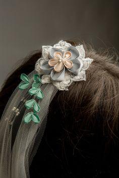 Kyoto Blossom Silk Kanzashi & Lace Fingertip Veil - long veil, ivory wedding veil, Japanese silk flowers