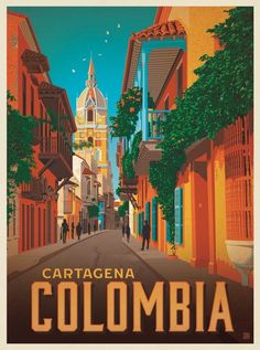 Vintage Travel Anderson Design Group – World Travel – Colombia: Cartagena - Art Deco Posters, Vintage Travel Posters, Poster Prints, Vintage Airline, Art Print, Foto Poster, Gig Poster, Tourism Poster, Photo Vintage