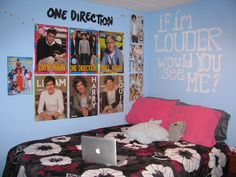 one direction bedroom ideas | Tumblr Rooms Bed – room 1d 1d room one direction blue pink gray