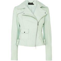 Karen Millen Pastel leather biker jacket (1,090 CAD) ❤ liked on Polyvore featuring outerwear, jackets, tops, coats, leather biker jacket, rider jacket, leather rider jacket, genuine leather jacket and green leather jacket