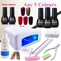 (Pick Any 5 Colors) Nail Art Polish Top Base 36W UV Lamp Gel Manicure Kit Soak Off Cleanser Plus Files Removers Buffer Nipper Push Wipes Stipes Roll Gift Set DIY by FairyGlo. HOW TO PICK COLORS: 1. We will send message to you after you placing order to ask for 12 colors you want. 2. Please have a look at the left picture of the product website and respond the MESSAGE with 12 color numbers you want within 24 hours then we will arrange the colors for you. REMINDER: Required to be cured…
