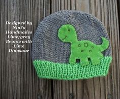 Lime Dinosaur Baby and toddler Beanie, grey and lime hat, dinosaur hat, prehistoric , boys hat, childrens accessories on Etsy, $25.00