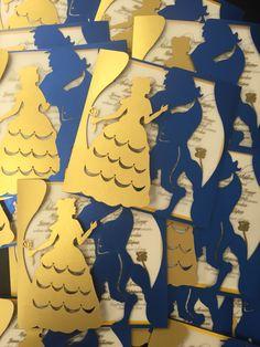 Laser cut gold and royal blue beaty and the beast invitations!!! Beatiful!!! #elpaso #beatyandbeastinvites #sweetfifteeninvitations by www.arteenpapel.mx