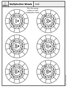 Free addition fact wheels for students to fill in the missing numbers. Students add the number in the middle of the wheel with each number around the wheel. Great for basic addition facts. Multiplication Wheel, Multiplication Table Printable, Multiplication Facts Worksheets, 3rd Grade Math Worksheets, Math Facts, Multiplication Strategies, Math Fractions, Math Graphic Organizers, Homeschool Math