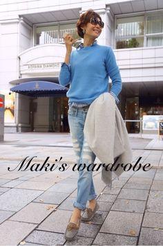 This blue sweater is the perfect color. Also the checked shirt. Denim Fashion, Cute Fashion, Fashion Pants, Womens Fashion, Japanese Fashion, Korean Fashion, Fall Winter Outfits, Winter Fashion, October Fashion