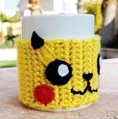 Pikachu Inspired Coffee Mug Tea Cup Cozy: Pokemon -ish Japanese Cartoon Crochet Knit Sleeve