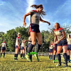 """The U-20 #USWNT is training in Honduras to prep for WWC qualifying that will be held there in December. Zoe Morse admires the jumping form of Julie Doyle during warm-up for practice."" Photo taken by @ussoccer_wnt on Instagram, pinned via the InstaPin iOS App! http://www.instapinapp.com (09/21/2015)"