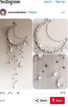 Just finished up the crystal moon wall hanging and will be listing it on my website tomorrow at New York time! Measures about 3 ft long by 18 inches wide at the top with dangling stars and large quartz teardrops. Crescent moon dreamcatcher made by Love as Diy Tumblr, Diy And Crafts, Arts And Crafts, Ideias Diy, Deco Design, Home And Deco, Suncatchers, Diy Art, Wind Chimes