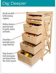 Deep Drawer Harvest Rack - Vegetable Storage Bins and Rack