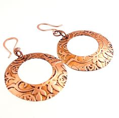 Floral Embossed Copper Hoop Earrings, Fashion Jewelry, Fashion Accessories, Gifts, Copper Jewelry, Casual Wear, Career Wear by ramonahall on Etsy