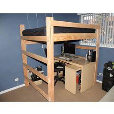 Pesado deber de sólida madera Loft cama 1000 libras de peso
