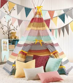 Striped Fabric Teepee- so cute! And awesome reading corner set up for if we ever get a school room.