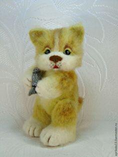 Купить Валяный кот Тимофей. Кот игрушка из шерсти . - рыжий, белый, коричневый, пушистый