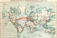 World Map of Telegraph Submarine Underwater Cables, Early , Photo Print Underwater Cable, Submarine Cable, Bel Art, System Map, Toro Y Moi, The Secret World, Map Globe, Remote Sensing, Old Maps