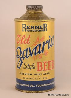 Renner Old Bavaria Style Beer Can, 12 oz. Cone Top, 181-23 « The Beer Can Guide   The Ultimate Beer Can Reference!