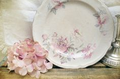 Shabby chic peony plate SOLD #pink #shabbychic #peony #vintage #plate