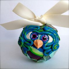 Marine  Polymer Clay Owl Ornament w/ Ribbon by TheNakedPeacock, $14.95
