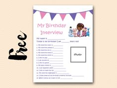 FREE Birthday Interview Printable doc mcstuffins