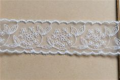 Antique St Scalloped Embroidery Cotton Crochet Lace Trim 1.8cm WD Flowers 1yard