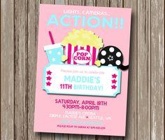 Girls Pink Movie Night Invitation - Cinema, Hollywood, Movie Reel, Movie Camera, Theater, Birthday, Sleep Over - Printable Digital File