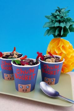 If Plankton's chum tasted this good, he wouldn't be so concerned with stealing the Krabby Patty secret formula!  Assembling your Chum Bucket  from this recipe for your kid's SpongeBob Bikini Bottom underwater birthday party.