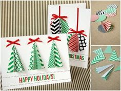 Homemade Christmas cards done by hand can make Christmas more traditional. While most people display their generic store-bought Christmas cards, yours will be sure to stand out. Here is a list of some creative homemade Christmas cards we've found. Modern Christmas Cards, Diy Holiday Cards, Homemade Christmas Cards, Christmas Cards To Make, Noel Christmas, Homemade Cards, Xmas Cards Handmade, Christmas Presents, Christmas Postcards