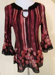 Nicola Women's Size M Burgundy Pink 3/4 Sleeve Pleated Crinkle  Tunic Top #Nicola #Tunic