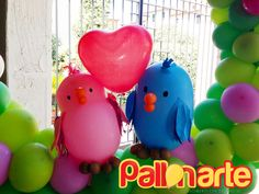 jungle birthday balloons decoration - birds with balloons - uccellini con palloncini - pajaritos con globos_ love