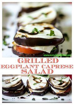 Grilled Eggplant Caprese Salad is a tasty twist on a Tomato Caprese Salad. The grilled eggplant adds a great flavor to this easy and tasty appetizer or side dish! #grilledeggplant #tomatosalad #capresesalad #eggplantmozzarellatomato #everydayeileen #appetizer #vegetarian #summergrilling #summerveggies #BBQWEEK #festivefoodies via @everydayeileen