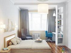 Спальня в светлых тонах, интерьер спальни, светло-серые шторы на окнах