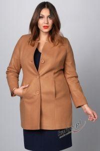 Płaszcz  flauszowy zimowy elegancki stójka karmelowy