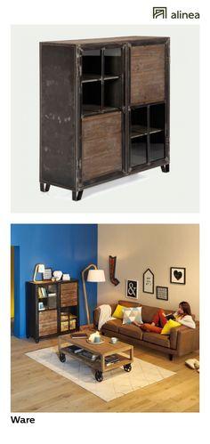 alinea : ware buffet haut 2 portes en pin, acier et verre meubles salon buffets - #Alinea #Décoration #Buffet #Verre #Acier - inspiration meubles et déco