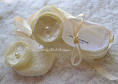 Ivory Lace Vintage Baby Shoes Ballerina Slippers