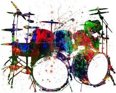 Receive a high-quality reproduction of our original drum set mixed media artwork. Various print and canvas options available. Mixed Media Artwork, Artwork Prints, Music Drawings, Art Drawings, Music Pictures, Art Pictures, Drums Artwork, Drummer Gifts, Girl Drummer