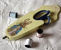 Peter Rabbit Painted Wooden Scissor Holder from Hofcraft