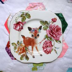Truly Lovely Floral Deer fr The Storybook Rabbit $35 #etsy #gifts