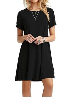 93b33684152 Women s Casual Plain Short Sleeve Simple T-Shirt Loose Dress Several Colors  Available Casual Dresses