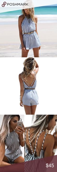 """{NEW ARRIVAL} White & Blue Stripe Open Back Romped ✨White & Blue Stripe Open Back Romper  Bailey Stripe Open Back Romper  Material: Cotton Poly  Sizing:  Small 4-6 Bust 34.5"""" Waist 25-26"""" Length 30-31""""  Medium 8-10 Bust 37"""" Waist 26-27"""" Length 31-32""""  Large 12 Bust 37"""" Waist 28-29"""" Length 32""""  Please note waist is elastic and does stretch. Measurements given are without stretch. GlamVault Pants Jumpsuits & Rompers"""