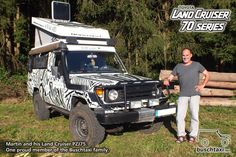 Martin and his Land Cruiser PZJ75. One proud member of the Buschtaxi family.  #buschtaxi #landcruiser #70series #j7 #pzj75 #toyota