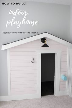 Create a kid friendly play space under the stairs for under $55! Here's how to build an indoor playhouse. Full tutorial, sources, and budget breakdown. Woodworking Projects For Kids, Diy Woodworking, Diy Projects, Home Crafts, Diy Home Decor, Shiplap Siding, Maximize Small Space, Herringbone Wall, Indoor Playhouse