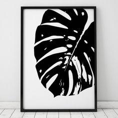 Black and White Monstera Leaf INSTANT DOWNLOAD Art Printable