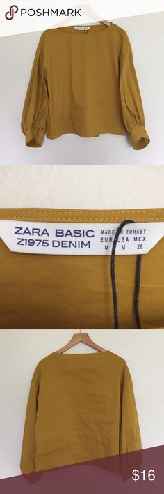 Zara mustard blouse Long sleeve blouse, worn once. Great condition! Zara Tops Blouses